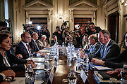 Ministro degli Interni italiano Angelino Alfano incontra il suo omologo austriaco Wolfgang Sobotka. Roma 28 aprile 2016. Christian Mantuano / OneShot<br /> <br /> Italian Interior Minister Angelino Alfano meets his Austrian counterpart Wolfgang Sobotka. Italy and Austria were set for showdown talks today as Italian politicians and media reacted furiously to Vienna's new anti-migrant measures that could close the border between the two countries. Roma 28 april 2016. Christian Mantuano / OneShot