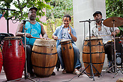 Local band playing at San Telmo market, San Telmo, Buenos Aires, Argentina. .