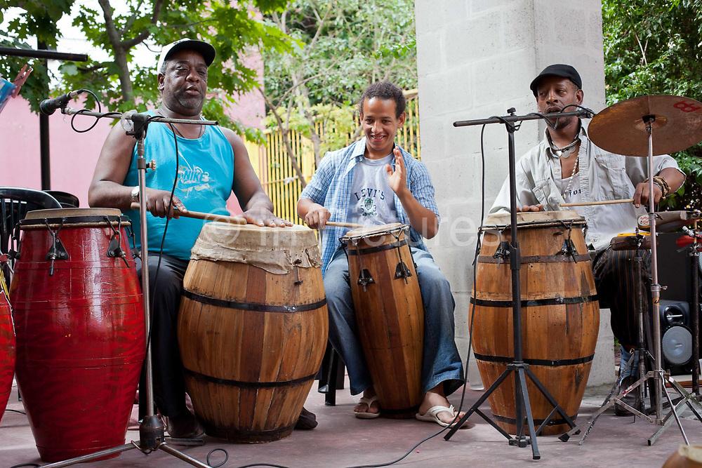 Local band playing at San Telmo market, San Telmo, Buenos Aires, Argentina. .