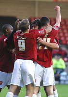 Photo: Dave Linney.<br />Walsall v Torquay United. Coca Cola League 2. 04/11/2006. Walsall's Ian Roper(C) celebrates after making it 1-0 from a header.