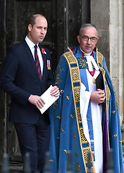 Prince William, Duke of Cambridge at the annual Service of Commemoration and Thanksgiving at Westminster Abbey, London, to commemorate Anzac Day. Photo credit should read: Doug Peters/EMPICS Entertainment