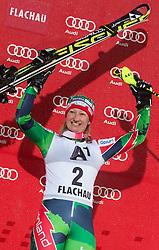 15.01.2013, Hermann Maier Weltcupstrecke, Flachau, AUT, FIS Weltcup Ski Alpin, Slalom, Damen, Podium, im Bild Tanja Poutiainen (FIN, Platz 2) // 2nd place Tanja Poutiainen of Finland celebrate on podium during ladies Slalom of the FIS Ski Alpine World Cup at the Hermann Maier World Cup trackside, Flachau, Austria on 2013/01/15. EXPA Pictures © 2013, PhotoCredit: EXPA/ Johann Groder