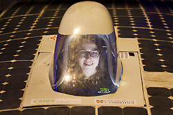 © Licensed to London News Pictures. 08/03/2013. London, UK. Cambridge University Eco Racing Team member Alice Taylor sits in the cockpit of the team's solar powered car 'Endeavour', an entrant to the 2011 World Solar Challenge, at a photocall ahead of an event celebrating women in science at the Science Museum in London today (08/03/2013).. The event, held as part of a three day festival called 'High Performance' and opening at the Science Museum on Friday the 8th of March, marks the extraordinary woman in science as part of International Women's Day. Photo credit: Matt Cetti-Roberts/LNP