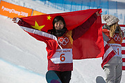 Jiayu Liu, China, takes 2nd place during the womens halfpipe final at the Pyeongchang Winter Olympics on 13th February 2018 at Phoenix Snow Park in South Korea