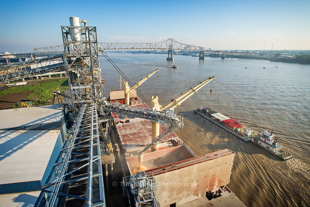 A cargo ship is loading grain at Louis Dreyfus Commodities grain elevator and loading dock at the Port of Greater Baton Rouge in Port Allen, La. About 60% of American agricultural exports go through the Mississippi River and new facilities at the Port will help meet the worldwide demand for food.