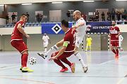 Futsal: 1. Bundesliga, HSV-Panthers - Stuttgart Futsal Club, Hamburg, 11.09.2021<br /> Michael Meyer (Panthers, r.) - Sasa Babic (Stuttgart)<br /> © Torsten Helmke