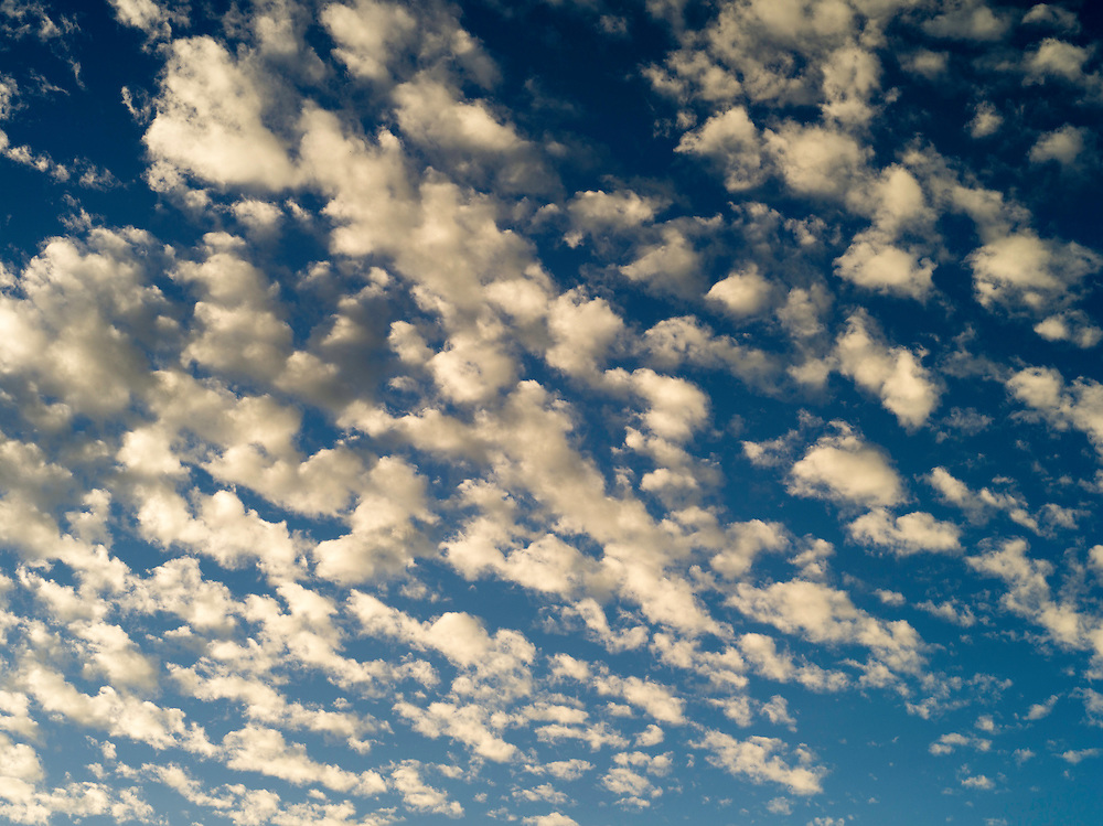 Puffy evening clouds over the Town of 1770, QLD, Australia
