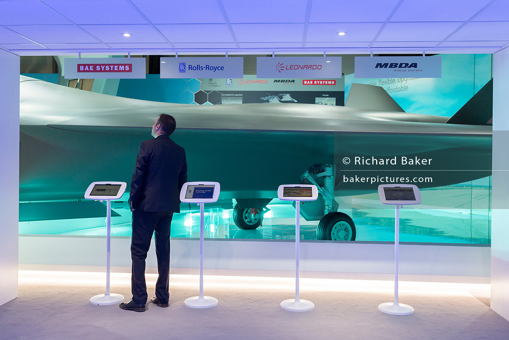 A scale model of the BAE Systems Tempest fighter, a replacement for the Typhoon, in the company's exhibition hall at the Farnborough Airshow, on 18th July 2018, in Farnborough, England.