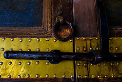 Close up bolt and handle on an old door in the Bahia Palace in Marrakech, Morocco, North Africa<br /> <br /> (c) Andrew Wilson | Edinburgh Elite media