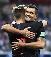 (180621) -- NIZHNY NOVGOROD, June 21, 2018 -- Ivan Rakitic (front) of Croatia celebrates victory with teammate after the 2018 FIFA World Cup WM Weltmeisterschaft Fussball Group D match between Argentina and Croatia in Nizhny Novgorod, Russia, June 21, 2018. Croatia won 3-0. ) (SP)RUSSIA-NIZHNY NOVGOROD-2018 WORLD CUP-GROUP D-ARGENTINA VS CROATIA ChenxYichen PUBLICATIONxNOTxINxCHN