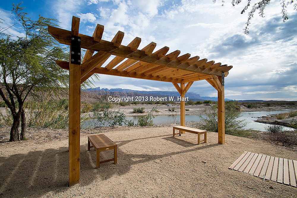 Waiting area of the new Customs and Border Patrol crossing and point of entry on the U.S. side in Big Bend National Park near Rio Grande Village. .Photographer: Robert W. Hart