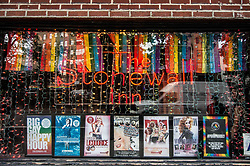 "August 26, 2017 - New York City, New York, United States of America - Facade of the Stonewall Inn. Dozens demonstrated for Kiwi Herring, a 30 year old trangender woman that was shot and killed by St. Louis police after a call from a neighbor. The demonstration eventually became a march that snaked through lower Manhattan, making stops at restaurants to deliver the message to the patrons.  At least one verbal altercation transpired. The family of Herring alleges that she was the victim of long-term harassment by a ""homophobic"" neighbor, while the police allege that she held a knife and injured at least one officer with it.  Prior to the fatal incident, there was another knife incident on the premises involving Herring and a neighbor.  ..Currently, police are investigating and if non-lethal methods were used before the fatal shooting.  The Human Rights Campaign, a gay rights NGO, has stated that this is the 18th transgender killing this year, with nearly all the victims being people of color, and nearly all having been black.  Furthermore, just one day prior, Trump signed the bill banning transgender people from serving in the military. (Credit Image: © Sachelle Babbar via ZUMA Wire)"