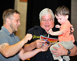 Former Bethlehem Township paramedic AJ Heightman reunites with the Barron Family including Rodney Barron, II (left) who Heightman cared for as a premature baby 27 years ago on April  23, 2017, in Bethlehem Township. Heightman has not seen Barron since he assisted in his care when Barron was born prematurely at home 27 years ago. (Chris Post | lehighvalleylive.com contributor)