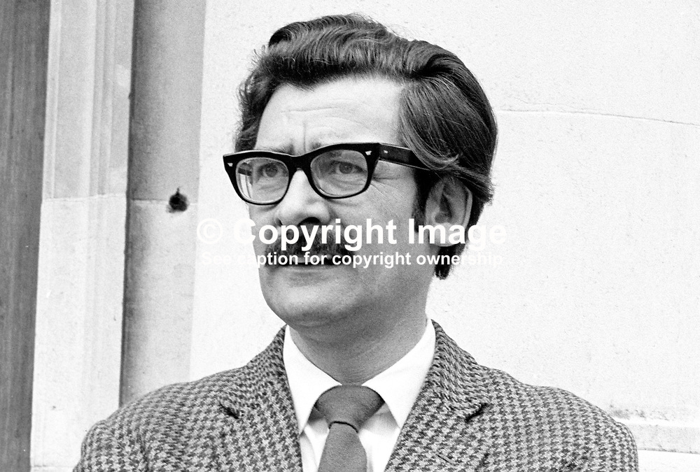 John Turnley, candidate, SDLP, North Antrim, N Ireland Assembly Election, 197306000421c. Former British Army Officer, Worked in Japan and married a Japanese woman. Founder member, Irish Independence Party, Assassinated 4 June 1980 by UDA.<br /> <br /> Copyright Image from Victor Patterson, Belfast, UK<br /> <br /> t: +44 28 9066 1296 (from Rep of Ireland 048 9066 1296)<br /> m: +44 7802 353836<br /> e: victorpattersonbelfast@gmail.com<br /> <br /> www.images4media.com<br /> <br /> Please see my full Terms and Conditions of Use at https://www.images4media.com/p/terms-conditions - it is IMPORTANT that you familiarise yourself with them.<br /> <br /> Images used online incur an additional cost. This cost should be agreed in writing in advance. Online images must be visibly watermarked i.e. © Victor Patterson or that of the named photographer within the body of the image. The original metadata must not be deleted from images used online.<br /> <br /> This image is only available for the use of the download recipient i.e. television station, newspaper, magazine, book publisher, etc, and must not be passed on to a third party. It is also downloaded on condition that each and every usage is notified within 7 days to victorpattersonbelfast@gmail.com.<br /> <br /> The right of Victor Patterson (or the named photographer) to be identified as the author is asserted in accordance with The Copyright Designs And Patents Act (1988). All moral rights are asserted.