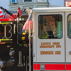 Lititz, PA / USA - July 3, 2017:   Fire Company participated in a patriotic parade in a small American town at a 4th of July Independence Day celebration.