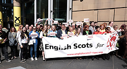 """SNP Spring Conference, Sunday 28th April 2019<br /> <br /> Pictured: The """"English Scots For Yes"""" independence group are joined by MPs and MSPs including Keith Brown MSP for a photocall <br /> <br /> Alex Todd   Edinburgh Elite media"""