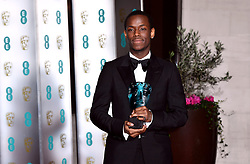 MiMicheal Ward with his EE Rising Star Award attending the after show party for the 73rd British Academy Film Awards.