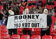 England fans hold up a banner for Wayne Rooney<br /> <br /> - International European Qualifier - England vs Slovenia- Wembley Stadium - London - England - 15th November 2014  - Picture David Klein/Sportimage