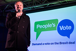 London, UK. 15th January, 2019. Gavin Esler, journalist, television presenter and author, addresses pro-EU activists attending a People's Vote rally in Parliament Square as MPs vote in the House of Commons on Prime Minister Theresa May's proposed final Brexit withdrawal agreement.