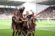 Fussball: 2. Bundesliga, FC St. Pauli - Holstein Kiel, Hamburg, 25.07.2021<br /> Jubel von St. Pauli nach dem Treffer zum 2:0<br /> © Torsten Helmke