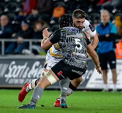 Matt Cox of Worcester Warriors under pressure from  James King of Ospreys<br /> <br /> Photographer Simon King/Replay Images<br /> <br /> European Rugby Challenge Cup Round 5 - Ospreys v Worcester Warriors - Saturday 12th January 2019 - Liberty Stadium - Swansea<br /> <br /> World Copyright © Replay Images . All rights reserved. info@replayimages.co.uk - http://replayimages.co.uk