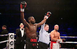 Lawrence Okolie (left) celebrates winning the WBA continental cruiserweight championship at The O2 Arena, London.