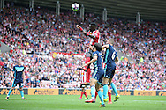 Sunderland defender Papy Djilobodji (5) gets up well for the header during the Premier League match between Sunderland and Middlesbrough at the Stadium Of Light, Sunderland, England on 21 August 2016. Photo by Simon Davies.