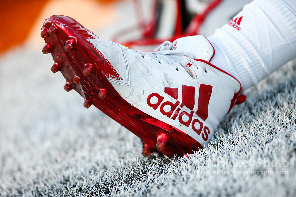 CHAMPAIGN, IL - SEPTEMBER 29: A Nebraska Cornhuskers player's Adidas shoe is seen before the game against the Illinois Fighting Illini at Memorial Stadium on September 29, 2017 in Champaign, Illinois. (Photo by Michael Hickey/Getty Images)