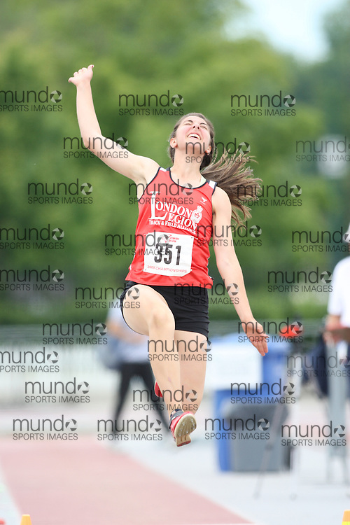 (London, Ontario---13/06/09)   Katerina Karidas of London Legion T&F Alliance competes in the  junior women's long jump at the 2009 Athletics Ontario Junior Track and Field Championships. The meet was held in London, Ontario from June 13-14, 2009. Copyright photograph Sean Burges / Mundo Sport Images, 2009. www.mundosportimages.com / www.msievents.