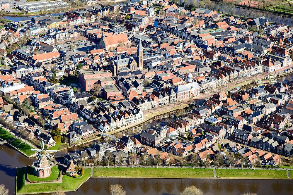 Nederland, Friesland, gemeente Dongeradeel, 28-02-2016; binnenstad van Dokkum, met bolwerk, bastions en stellingmolens. Beschermd stadsgezicht.<br /> Dokkum, small town in the very North of Friesland.<br />  <br /> luchtfoto (toeslag op standard tarieven);<br /> aerial photo (additional fee required);<br /> copyright foto/photo Siebe Swart
