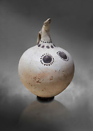 Minoan clay polychrome beak spouted nippled ewer with human and bird features, Akrotiri, Thira (Santorini) National Archaeological Museum Athens. 17th-16th cent BC.<br /> <br /> A characteristic Theran ewer used for libabtions this pot has both painted and plastic features. The dots around the neck represent a necklace. .<br /> <br /> If you prefer to buy from our ALAMY PHOTO LIBRARY  Collection visit : https://www.alamy.com/portfolio/paul-williams-funkystock/minoan-art-artefacts.html . Type -   Athens    - into the LOWER SEARCH WITHIN GALLERY box. Refine search by adding background colour, place, museum etc<br /> <br /> Visit our MINOAN ART PHOTO COLLECTIONS for more photos to download  as wall art prints https://funkystock.photoshelter.com/gallery-collection/Ancient-Minoans-Art-Artefacts-Antiquities-Historic-Places-Pictures-Images-of/C0000ricT2SU_M9w