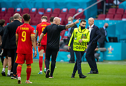 AMSTERDAM, THE NETHERLANDS - Saturday, June 26, 2021: A man, dressed as a steward, runs onto the pitch to target Wales' captain Gareth Bale after the UEFA Euro 2020 Round of 16 match between Wales and Denmark at the Amsterdam Arena. Denmark won 4-0. (Photo by David Rawcliffe/Propaganda)