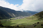 The view of the remote and roadless Brokpa village of Merak from the footpath heading towards Sakteng, Eastern Bhutan