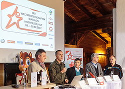 "02.11.2016, Biathlonarena, Hochilzen, AUT, IBU Weltmeisterschaft Biathlon, Hochfilzen, Pressekonferenz 100 Tage, im Bild v.l.: Franz Berger (Organisationskomitee Hochfilzen), General Major Mag. Andreas Pernsteiner (Österreichisches Bundesheer), ÖSV Präsident Prof. Peter Schröcksnadel, Dr. Klaus Leistner (Generalsekretär ÖSV und Vizepräsident IBU) und Markus Gandler (Sportlicher Leiter Biathlon ÖSV) // during a Pressconference ""100 Days"" in front of the IBU Biathlon World Championships 2017 at the Biathlonarena, Hochfilzen, Austria on 2016/11/02. EXPA Pictures © 2016, PhotoCredit: EXPA/ JFK"