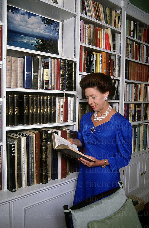 Princess Margaret seen in the library of her London home at Kensington Palace in October 1988. photographed by Jayne Fincher