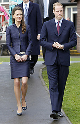 Prince William and Kate Middleton during a visit to Witton Country Park in Darwen, Lancashire this afternoon, where the couple are undertaking their last joint official engagement before their wedding.
