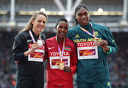 USA's Jennifer Simpson (silver) Kenya's Faith Kipyegon (gold) and South Africa's Caster Semenya (bronze) on the podium for the Women's 1500m during day five of the 2017 IAAF World Championships at the London Stadium. PRESS ASSOCIATION Photo. Picture date: Tuesday August 8, 2017. See PA story ATHLETICS World. Photo credit should read: Yui Mok/PA Wire. RESTRICTIONS: Editorial use only. No transmission of sound or moving images and no video simulationduring day five of the 2017 IAAF World Championships at the London Stadium. PRESS ASSOCIATION Photo. Picture date: Tuesday August 8, 2017. See PA story ATHLETICS World. Photo credit should read: Adam Davy/PA Wire. RESTRICTIONS: Editorial use only. No transmission of sound or moving images and no video simulation