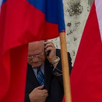 Ivan Gasparovic President of Slovakia talks on his phone during the Visegrad Group (V4) summit in Visegrad, 55 km (34 miles) north of Visegrad, Hungary on October 08, 2011. ATTILA VOLGYI