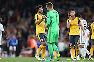Mohamed Elneny of Arsenal  shakes hands with Goalkeeper Tomas Vaclik of FC Basel after the final whistle. UEFA Champions league group A match, Arsenal v FC Basel at the Emirates Stadium in London on Wednesday 28th September 2016.<br /> pic by John Patrick Fletcher, Andrew Orchard sports photography.