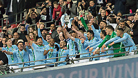Football - 2018 Carabao (EFL/League) Cup Final - Manchester City vs. Arsenal<br /> <br /> Manchester City present the trophy to their fans after beating Arsenal to win the League Cup at Wembley.<br /> <br /> COLORSPORT/DANIEL BEARHAM