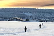 ÖSTERSUND 20210109<br /> Fotopromenad i Badhusparken, Östersund<br /> Folk som promenerar och åker skridskor på isen med Vallundsbron i bakgrunden.<br /> Foto: Per Danielsson/Projekt.P