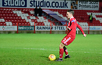 Accrington Stanley's Sean McConville scores during the penalty shoot out<br /> <br /> Photographer Andrew Vaughan/CameraSport<br /> <br /> The EFL Checkatrade Trophy Second Round - Accrington Stanley v Lincoln City - Crown Ground - Accrington<br />  <br /> World Copyright © 2018 CameraSport. All rights reserved. 43 Linden Ave. Countesthorpe. Leicester. England. LE8 5PG - Tel: +44 (0) 116 277 4147 - admin@camerasport.com - www.camerasport.com