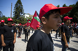 August 26, 2017 - Gaza City, The Gaza Strip, Palestine - The Palestinians are participating in a rally organized by the Popular Front for the Liberation of Palestine (PFLP) to commemorate the anniversary of the founder of the movement, Abu Ali Mustafa, and to end the division in Gaza City. (Credit Image: © Mahmoud Issa/Quds Net News via ZUMA Wire)