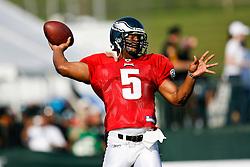 Philadelphia Eagles quarterback Donovan McNabb #5 during the Philadelphia Eagles NFL training camp in Bethlehem, Pennsylvania at Lehigh University on Saturday August 1st 2009. (Photo by Brian Garfinkel)