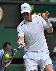 © Licensed to London News Pictures. 03/07/2017. London, UK. Photo credit: SIR ANDY MURRAY plays a first round men's singles match against Alexander Bublik on the first day of the Wimbledon Lawn Tennis Championships. Photo credit: Ray Tang/LNP