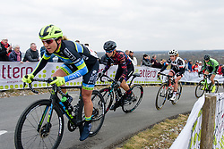 Alexis Ryan reaches the top of the VAMberg at Drentse 8 van Westerveld 2018 - a 142 km road race on March 9, 2018, in Dwingeloo, Netherlands. (Photo by Sean Robinson/Velofocus.com)