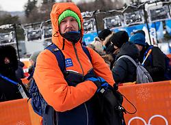 PYEONGCHANG, SOUTH KOREA - FEBRUARY 12: Uros Volk, journalist of RTV Slovenija during the Women's Halfpipe Snowboard Qualifications at Phoenix Snow Park on February 12, 2018 in PyeongChang, South Korea.  Photo by Ronald Hoogendoorn / Sportida