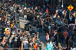 Looking down on the Strand during the Lone Star Rally. Galveston, TX. USA. Saturday November 4, 2017. Photography ©2017 Michael Lichter.