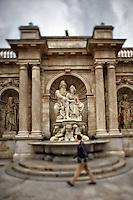 View of Emperor Franz Josef I and Empress Elisabeth in the Franz Josef I Monument, Albertina Square, Vienna, Austria