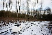 Met een velomobiel Quest door de sneeuw bij Almere